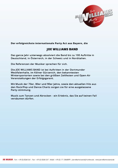 Pfingstturnier TuS Ergenzingen 2018 - Pressetext Joe Williams Band